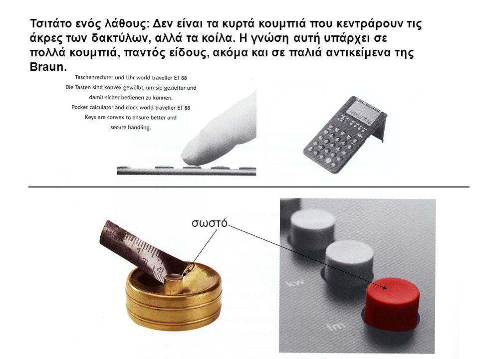 34 Τσιτάτο ενός λάθους: Δεν είναι τα κυρτά κουμπιά που κεντράρουν τις άκρες των δακτύλων, αλλά τα κοίλα. Η γνώση αυτή υπάρχει σε πολλά κουμπιά, παντός