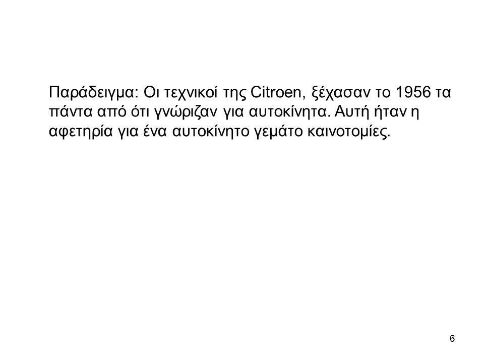 6 Παράδειγμα: Οι τεχνικοί της Citroen, ξέχασαν το 1956 τα πάντα από ότι γνώριζαν για αυτοκίνητα. Αυτή ήταν η αφετηρία για ένα αυτοκίνητο γεμάτο καινοτ