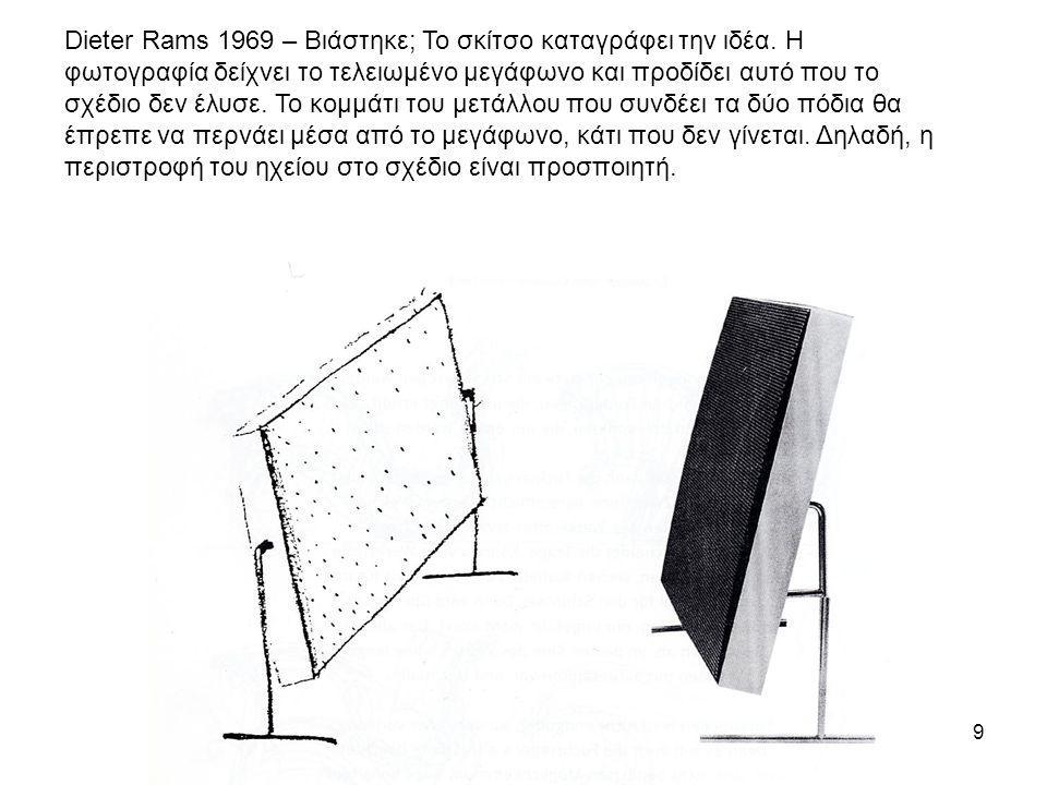 9 Dieter Rams 1969 – Βιάστηκε; Το σκίτσο καταγράφει την ιδέα. Η φωτογραφία δείχνει το τελειωμένο μεγάφωνο και προδίδει αυτό που το σχέδιο δεν έλυσε. Τ