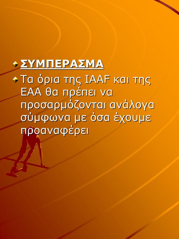 ΣΥΜΠΕΡΑΣΜΑ Τα όρια της IAAF και της ΕΑΑ θα πρέπει να προσαρμόζονται ανάλογα σύμφωνα με όσα έχουμε προαναφέρει