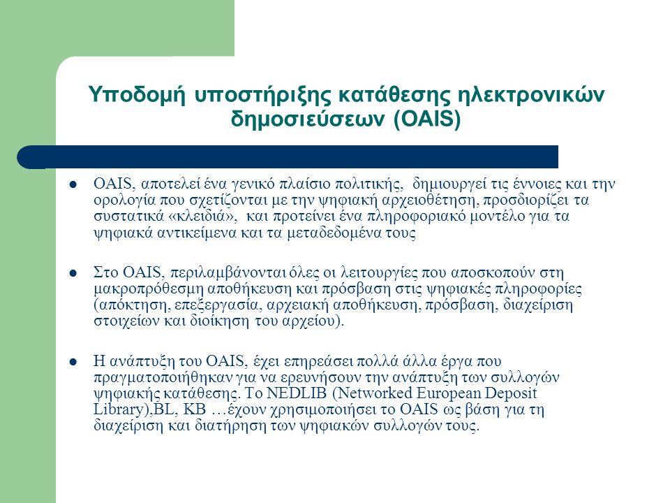 Υποδομή υποστήριξης κατάθεσης ηλεκτρονικών δημοσιεύσεων (OAIS) OAIS, αποτελεί ένα γενικό πλαίσιο πολιτικής, δημιουργεί τις έννοιες και την ορολογία που σχετίζονται με την ψηφιακή αρχειοθέτηση, προσδιορίζει τα συστατικά «κλειδιά», και προτείνει ένα πληροφοριακό μοντέλο για τα ψηφιακά αντικείμενα και τα μεταδεδομένα τους Στο OAIS, περιλαμβάνονται όλες οι λειτουργίες που αποσκοπούν στη μακροπρόθεσμη αποθήκευση και πρόσβαση στις ψηφιακές πληροφορίες (απόκτηση, επεξεργασία, αρχειακή αποθήκευση, πρόσβαση, διαχείριση στοιχείων και διοίκηση του αρχείου).