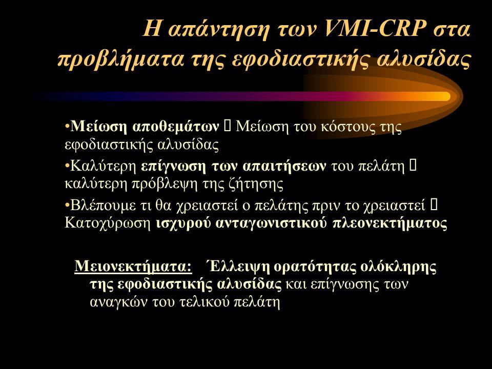 Η απάντηση των VMI-CRP στα προβλήματα της εφοδιαστικής αλυσίδας Μείωση αποθεμάτων  Μείωση του κόστους της εφοδιαστικής αλυσίδας Καλύτερη επίγνωση των απαιτήσεων του πελάτη  καλύτερη πρόβλεψη της ζήτησης Βλέπουμε τι θα χρειαστεί ο πελάτης πριν το χρειαστεί  Κατοχύρωση ισχυρού ανταγωνιστικού πλεονεκτήματος Μειονεκτήματα: Έλλειψη ορατότητας ολόκληρης της εφοδιαστικής αλυσίδας και επίγνωσης των αναγκών του τελικού πελάτη
