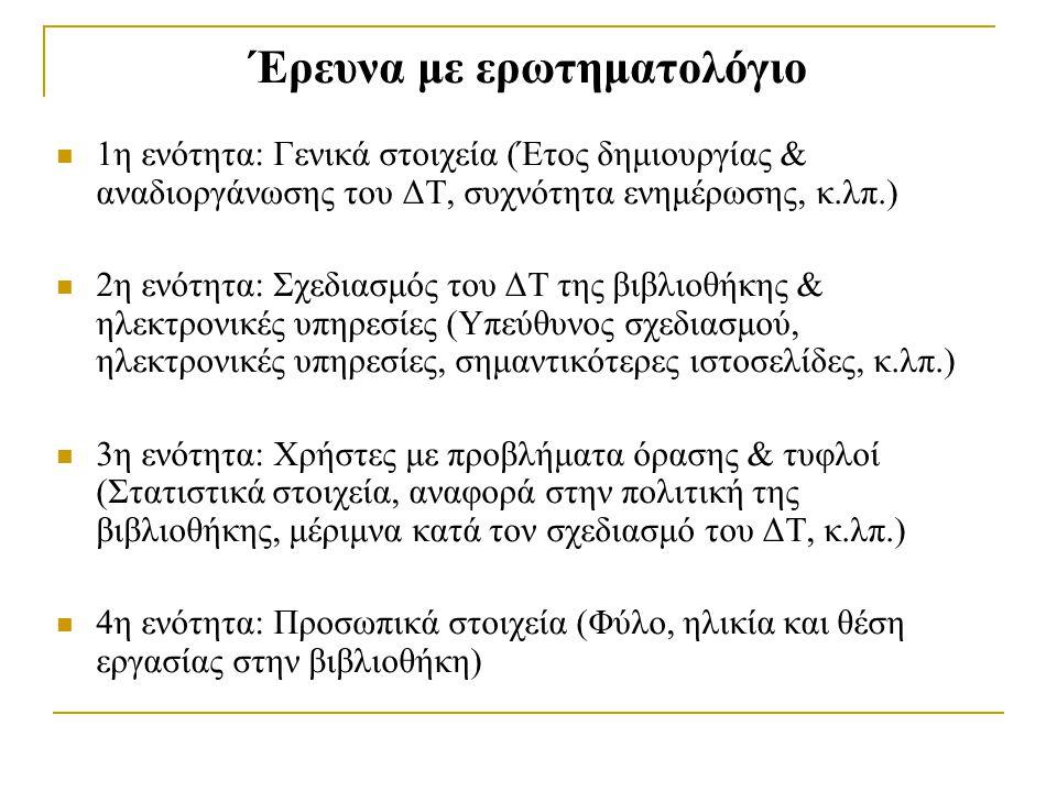 Έρευνα με ερωτηματολόγιο 1η ενότητα: Γενικά στοιχεία (Έτος δημιουργίας & αναδιοργάνωσης του ΔΤ, συχνότητα ενημέρωσης, κ.λπ.) 2η ενότητα: Σχεδιασμός του ΔΤ της βιβλιοθήκης & ηλεκτρονικές υπηρεσίες (Υπεύθυνος σχεδιασμού, ηλεκτρονικές υπηρεσίες, σημαντικότερες ιστοσελίδες, κ.λπ.) 3η ενότητα: Χρήστες με προβλήματα όρασης & τυφλοί (Στατιστικά στοιχεία, αναφορά στην πολιτική της βιβλιοθήκης, μέριμνα κατά τον σχεδιασμό του ΔΤ, κ.λπ.) 4η ενότητα: Προσωπικά στοιχεία (Φύλο, ηλικία και θέση εργασίας στην βιβλιοθήκη)