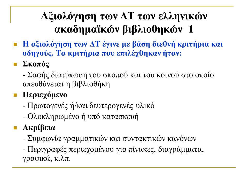 Αξιολόγηση των ΔΤ των ελληνικών ακαδημαϊκών βιβλιοθηκών 1 Η αξιολόγηση των ΔΤ έγινε με βάση διεθνή κριτήρια και οδηγούς.