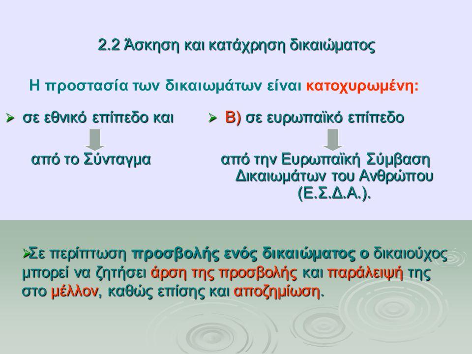 2.2 Άσκηση και κατάχρηση δικαιώματος  σε εθνικό επίπεδο και από το Σύνταγμα από το Σύνταγμα  Β) σε ευρωπαϊκό επίπεδο από την Ευρωπαϊκή Σύμβαση Δικαιωμάτων του Ανθρώπου (Ε.Σ.Δ.Α.).
