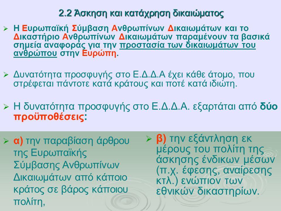 2.2 Άσκηση και κατάχρηση δικαιώματος   α) την παραβίαση άρθρου της Ευρωπαϊκής Σύμβασης Ανθρωπίνων Δικαιωμάτων από κάποιο κράτος σε βάρος κάποιου πολίτη,   β) την εξάντληση εκ μέρους του πολίτη της άσκησης ένδικων μέσων (π.χ.