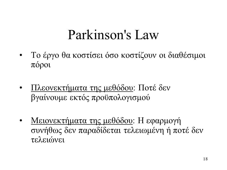 18 Parkinson s Law Το έργο θα κοστίσει όσο κοστίζουν οι διαθέσιμοι πόροι Πλεονεκτήματα της μεθόδου: Ποτέ δεν βγαίνουμε εκτός προϋπολογισμού Μειονεκτήματα της μεθόδου: Η εφαρμογή συνήθως δεν παραδίδεται τελειωμένη ή ποτέ δεν τελειώνει