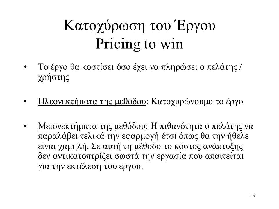19 Κατοχύρωση του Έργου Pricing to win Το έργο θα κοστίσει όσο έχει να πληρώσει ο πελάτης / χρήστης Πλεονεκτήματα της μεθόδου: Κατοχυρώνουμε το έργο Μειονεκτήματα της μεθόδου: Η πιθανότητα ο πελάτης να παραλάβει τελικά την εφαρμογή έτσι όπως θα την ήθελε είναι χαμηλή.