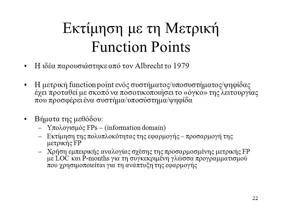 22 Εκτίμηση με τη Μετρική Function Points Η ιδέα παρουσιάστηκε από τον Albrecht το 1979 Η μετρική function point ενός συστήματος/υποσυστήματος/ψηφίδας έχει προταθεί με σκοπό να ποσοτικοποιήσει το «όγκο» της λειτουργίας που προσφέρει ένα συστήμα/υποσύστημα/ψηφίδα Βήματα της μεθόδου: –Υπολογισμός FPs – (information domain) –Εκτίμηση της πολυπλοκότητας της εφαρμογής – προσαρμογή της μετρικής FP –Χρήση εμπειρικής αναλογίας σχέσης της προσαρμοσμένης μετρικής FP με LOC και P-months για τη συγκεκριμένη γλώσσα προγραμματισμού που χρησιμοποιείται για τη ανάπτυξη της εφαρμογής