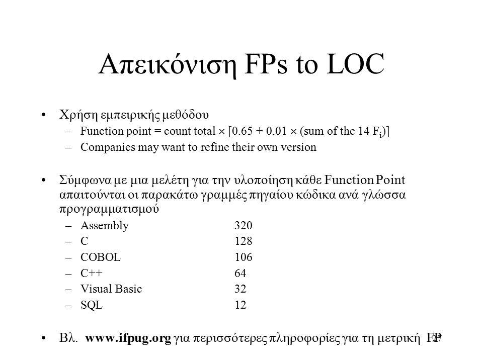 27 Απεικόνιση FPs to LOC Χρήση εμπειρικής μεθόδου –Function point = count total  [0.65 + 0.01  (sum of the 14 F i )] –Companies may want to refine their own version Σύμφωνα με μια μελέτη για την υλοποίηση κάθε Function Point απαιτούνται οι παρακάτω γραμμές πηγαίου κώδικα ανά γλώσσα προγραμματισμού –Assembly320 –C128 –COBOL106 –C++64 –Visual Basic32 –SQL12 Βλ.