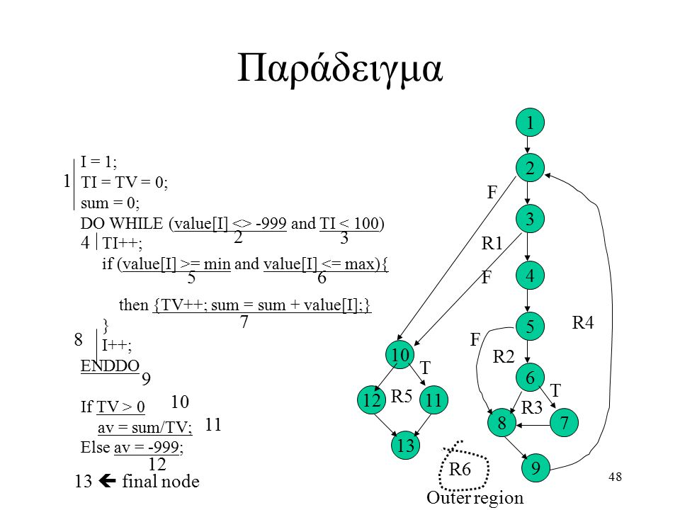 48 Παράδειγμα I = 1; TI = TV = 0; sum = 0; DO WHILE (value[I] <> -999 and TI < 100) TI++; if (value[I] >= min and value[I] <= max){ then {TV++; sum = sum + value[I];} } I++; ENDDO If TV > 0 av = sum/TV; Else av = -999; 1 2 3 4 56 7 8 9 10 11 12 13  final node 1 2 3 4 6 5 78 9 10 1112 13 R1 R2 R3 R4 R5 R6 Outer region F F F T T