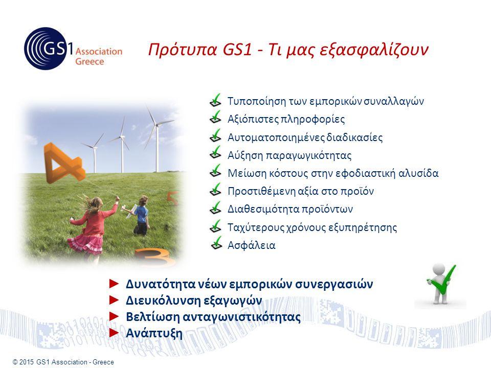 © 2015 GS1 Association - Greece Τυποποίηση των εμπορικών συναλλαγών Αξιόπιστες πληροφορίες Αυτοματοποιημένες διαδικασίες Αύξηση παραγωγικότητας Μείωση κόστους στην εφοδιαστική αλυσίδα Προστιθέμενη αξία στο προϊόν Διαθεσιμότητα προϊόντων Ταχύτερους χρόνους εξυπηρέτησης Ασφάλεια ► Δυνατότητα νέων εμπορικών συνεργασιών ► Διευκόλυνση εξαγωγών ► Βελτίωση ανταγωνιστικότητας ► Ανάπτυξη Πρότυπα GS1 - Τι μας εξασφαλίζουν
