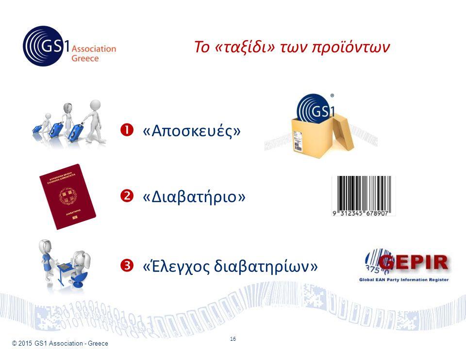 © 2015 GS1 Association - Greece 16 Το «ταξίδι» των προϊόντων  «Αποσκευές»  «Διαβατήριο»  «Έλεγχος διαβατηρίων»