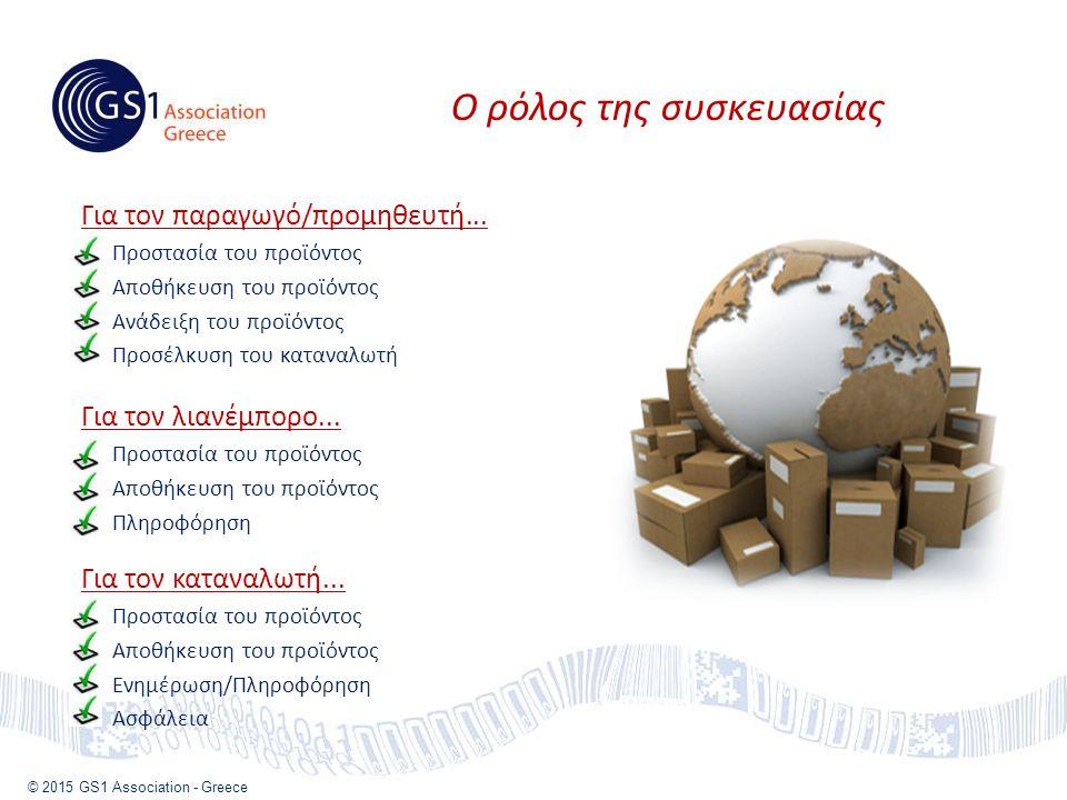 © 2015 GS1 Association - Greece Ο ρόλος της συσκευασίας Για τον παραγωγό/προμηθευτή...