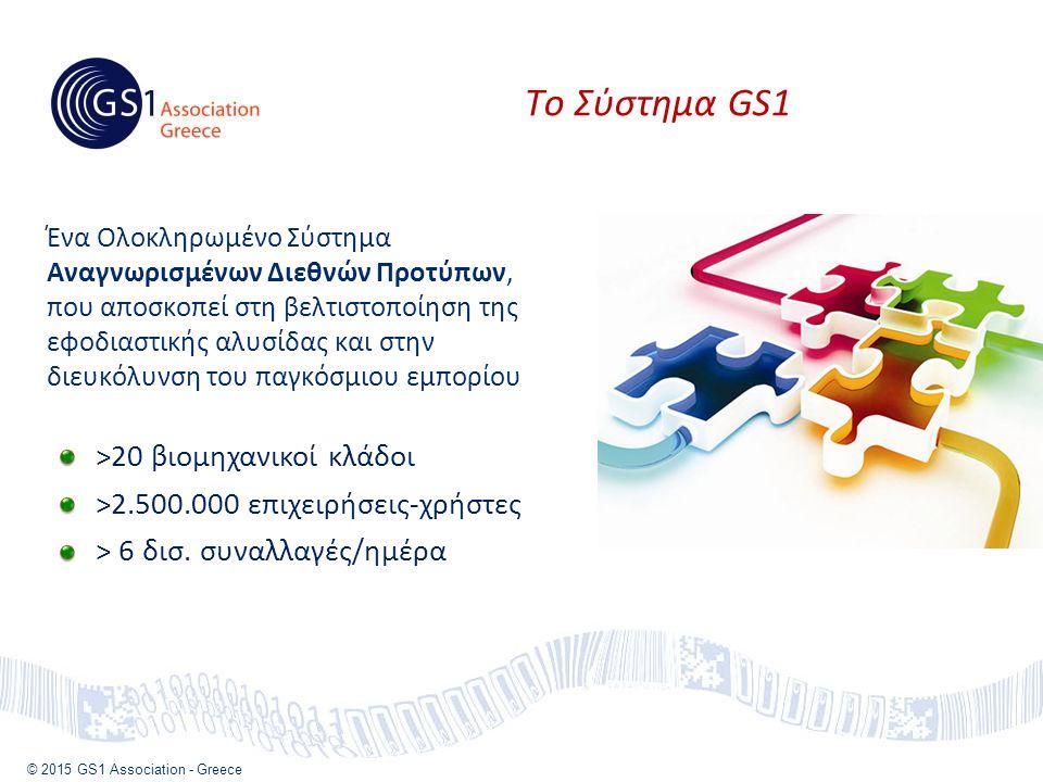 © 2015 GS1 Association - Greece Τo Σύστημα GS1 >20 βιομηχανικοί κλάδοι >2.500.000 επιχειρήσεις-χρήστες > 6 δισ.