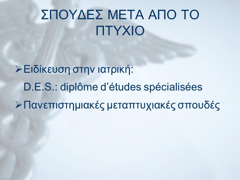 ΣΠΟΥΔΕΣ ΜΕΤΑ ΑΠΟ ΤΟ ΠΤΥΧΙΟ  Ειδίκευση στην ιατρική: D.E.S.: diplôme d'études spécialisées  Πανεπιστημιακές μεταπτυχιακές σπουδές