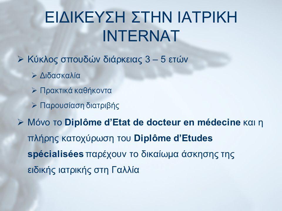 ΕΙΔΙΚΕΥΣΗ ΣΤΗΝ ΙΑΤΡΙΚΗ INTERNAT  Κύκλος σπουδών διάρκειας 3 – 5 ετών  Διδασκαλία  Πρακτικά καθήκοντα  Παρουσίαση διατριβής  Μόνο το Diplôme d'Etat de docteur en médecine και η πλήρης κατοχύρωση του Diplôme d'Etudes spécialisées παρέχουν το δικαίωμα άσκησης της ειδικής ιατρικής στη Γαλλία