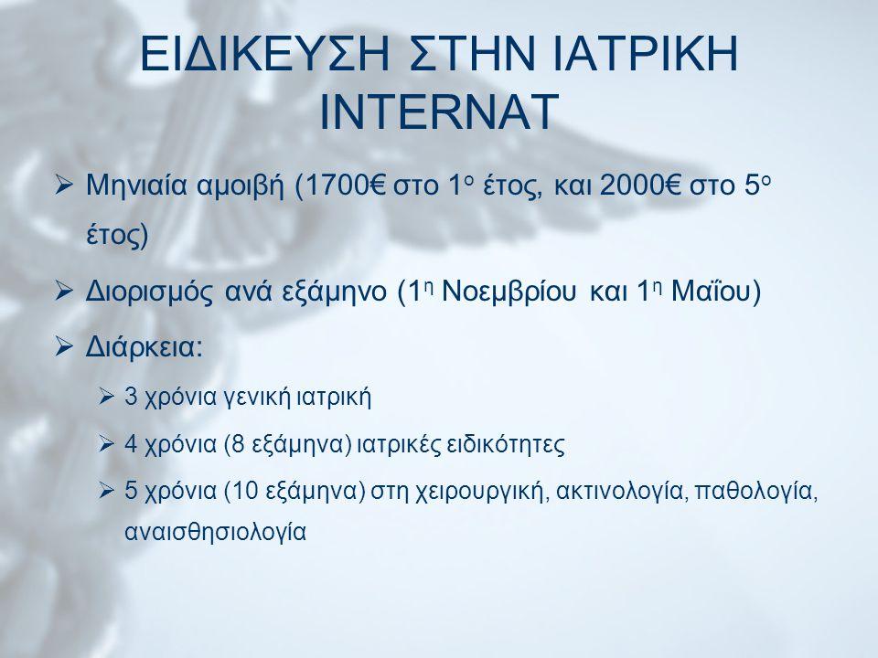 ΕΙΔΙΚΕΥΣΗ ΣΤΗΝ ΙΑΤΡΙΚΗ INTERNAT  Μηνιαία αμοιβή (1700€ στο 1 ο έτος, και 2000€ στο 5 ο έτος)  Διορισμός ανά εξάμηνο (1 η Νοεμβρίου και 1 η Μαΐου) 