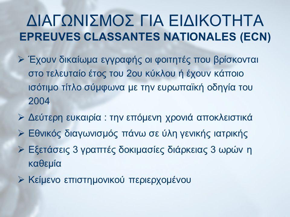 ΔΙΑΓΩΝΙΣΜΟΣ ΓΙΑ ΕΙΔΙΚΟΤΗΤΑ EPREUVES CLASSANTES NATIONALES (ECN)  Έχουν δικαίωμα εγγραφής οι φοιτητές που βρίσκονται στο τελευταίο έτος του 2ου κύκλου ή έχουν κάποιο ισότιμο τίτλο σύμφωνα με την ευρωπαϊκή οδηγία του 2004  Δεύτερη ευκαιρία : την επόμενη χρονιά αποκλειστικά  Εθνικός διαγωνισμός πάνω σε ύλη γενικής ιατρικής  Εξετάσεις 3 γραπτές δοκιμασίες διάρκειας 3 ωρών η καθεμία  Κείμενο επιστημονικού περιερχομένου