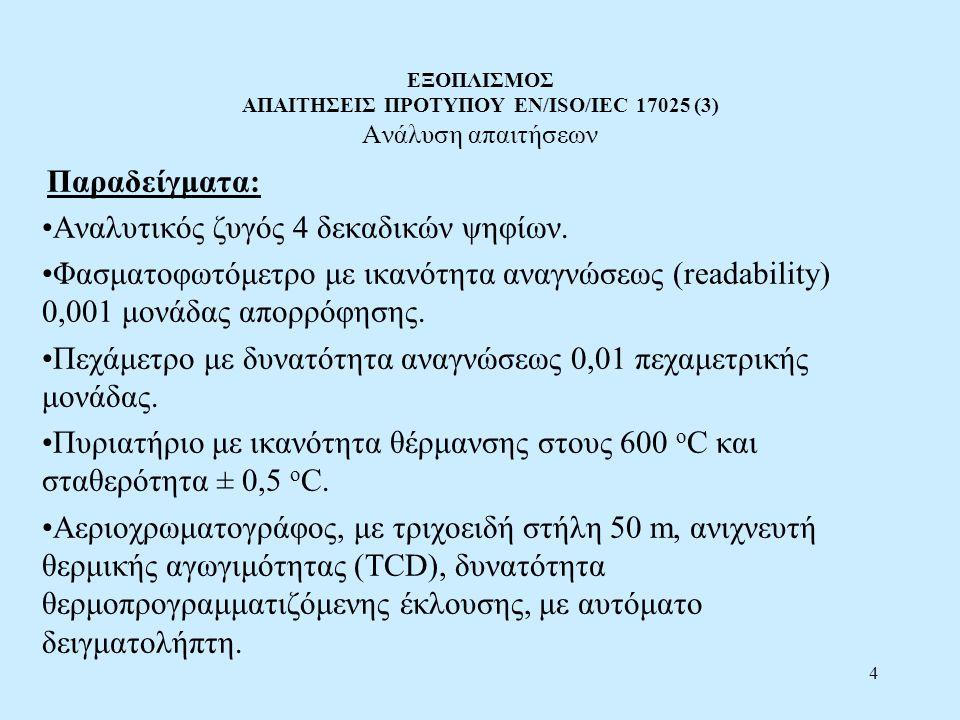 4 ΕΞΟΠΛΙΣΜΟΣ ΑΠΑΙΤΗΣΕΙΣ ΠΡΟΤΥΠΟΥ EN/ISO/IEC 17025 (3) Ανάλυση απαιτήσεων Παραδείγματα: Αναλυτικός ζυγός 4 δεκαδικών ψηφίων. Φασματοφωτόμετρο με ικανότ