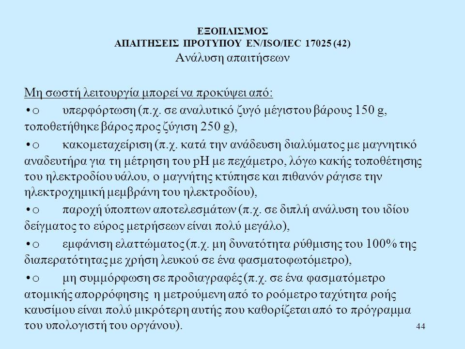 44 ΕΞΟΠΛΙΣΜΟΣ ΑΠΑΙΤΗΣΕΙΣ ΠΡΟΤΥΠΟΥ EN/ISO/IEC 17025 (42) Ανάλυση απαιτήσεων Μη σωστή λειτουργία μπορεί να προκύψει από: o υπερφόρτωση (π.χ. σε αναλυτικ