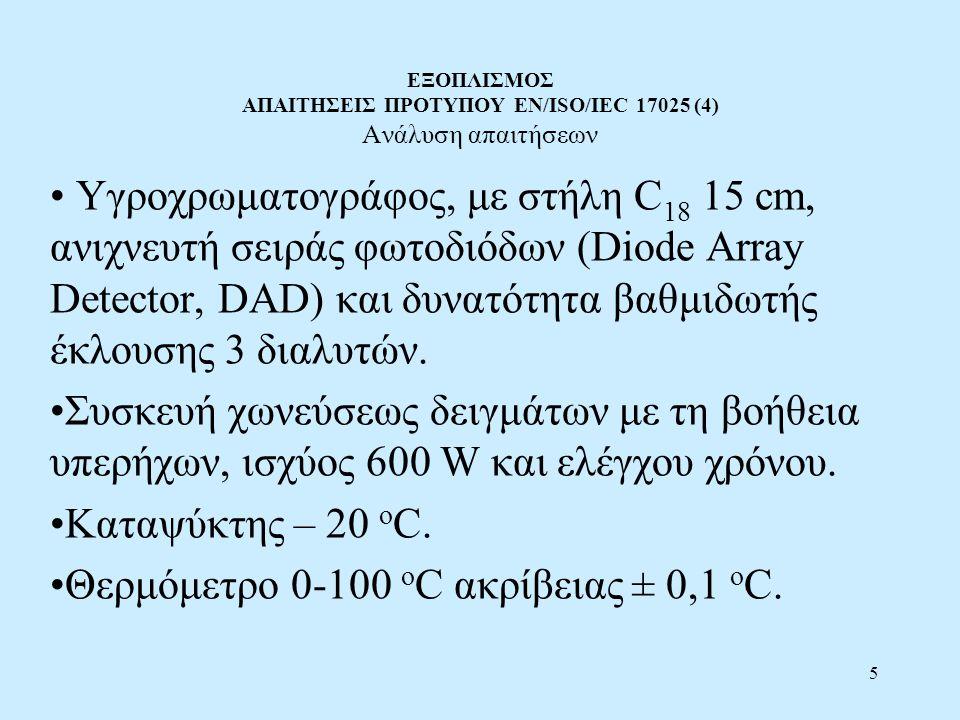 5 ΕΞΟΠΛΙΣΜΟΣ ΑΠΑΙΤΗΣΕΙΣ ΠΡΟΤΥΠΟΥ EN/ISO/IEC 17025 (4) Ανάλυση απαιτήσεων Υγροχρωματογράφος, με στήλη C 18 15 cm, ανιχνευτή σειράς φωτοδιόδων (Diode Ar