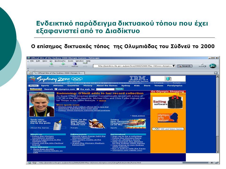 Ενδεικτικό παράδειγμα δικτυακού τόπου που έχει εξαφανιστεί από το Διαδίκτυο Ο επίσημος δικτυακός τόπος της Ολυμπιάδας του Σύδνεϋ το 2000