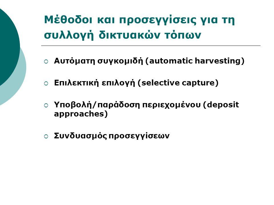 Μέθοδοι και προσεγγίσεις για τη συλλογή δικτυακών τόπων  Αυτόματη συγκομιδή (automatic harvesting)  Επιλεκτική επιλογή (selective capture)  Υποβολή