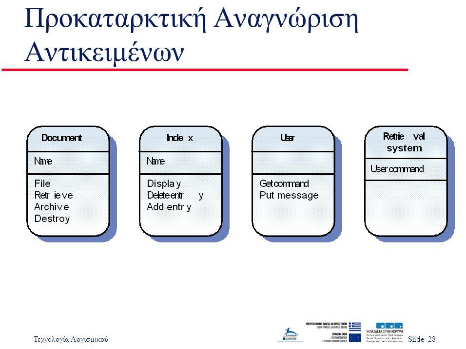 Τεχνολογία ΛογισμικούSlide 28 Προκαταρκτική Αναγνώριση Αντικειμένων