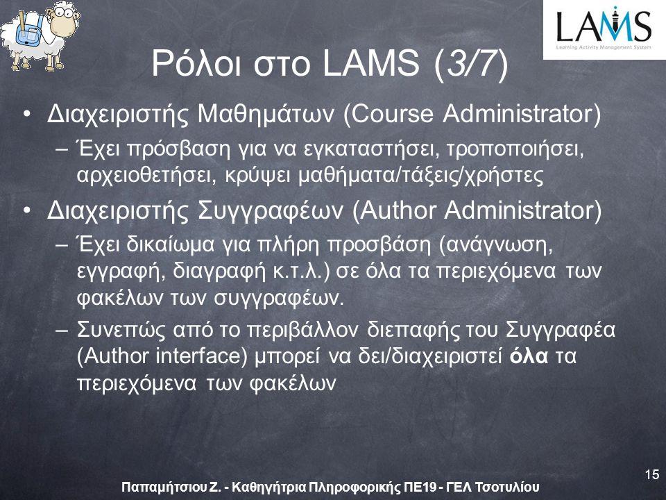Διαχειριστής Μαθημάτων (Course Administrator) –Έχει πρόσβαση για να εγκαταστήσει, τροποποιήσει, αρχειοθετήσει, κρύψει μαθήματα/τάξεις/χρήστες Διαχειριστής Συγγραφέων (Author Administrator) –Έχει δικαίωμα για πλήρη προσβάση (ανάγνωση, εγγραφή, διαγραφή κ.τ.λ.) σε όλα τα περιεχόμενα των φακέλων των συγγραφέων.