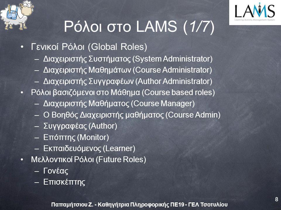 Γενικοί Ρόλοι (Global Roles) –Διαχειριστής Συστήματος (System Administrator) –Διαχειριστής Μαθημάτων (Course Administrator) –Διαχειριστής Συγγραφέων (Author Administrator) Ρόλοι βασιζόμενοι στο Μάθημα (Course based roles) –Διαχειριστής Μαθήματος (Course Manager) –Ο Βοηθός Διαχειριστής μαθήματος (Course Admin) –Συγγραφέας (Author) –Επόπτης (Monitor) –Εκπαιδευόμενος (Learner) Μελλοντικοί Ρόλοι (Future Roles) –Γονέας –Επισκέπτης 8 Παπαμήτσιου Ζ.