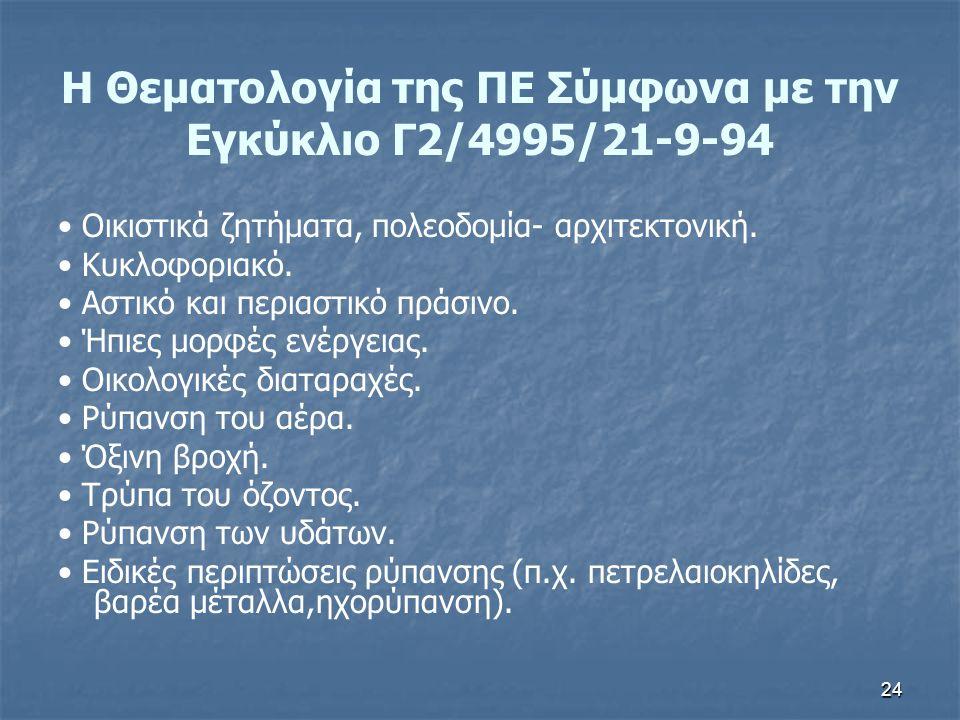24 Η Θεματολογία της ΠΕ Σύμφωνα με την Εγκύκλιο Γ2/4995/21-9-94 Οικιστικά ζητήματα, πολεοδομία- αρχιτεκτονική. Κυκλοφοριακό. Αστικό και περιαστικό πρά