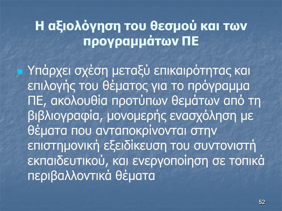 52 H αξιολόγηση του θεσμού και των προγραμμάτων ΠΕ Υπάρχει σχέση μεταξύ επικαιρότητας και επιλογής του θέματος για το πρόγραμμα ΠΕ, ακολουθία προτύπων