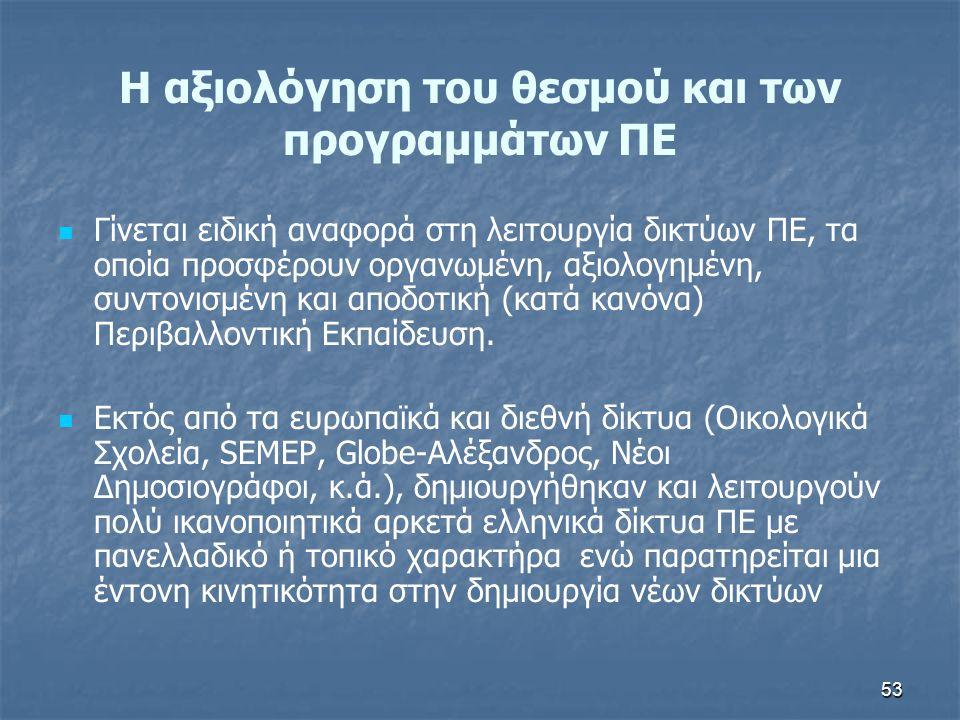 53 H αξιολόγηση του θεσμού και των προγραμμάτων ΠΕ Γίνεται ειδική αναφορά στη λειτουργία δικτύων ΠΕ, τα οποία προσφέρουν οργανωμένη, αξιολογημένη, συν