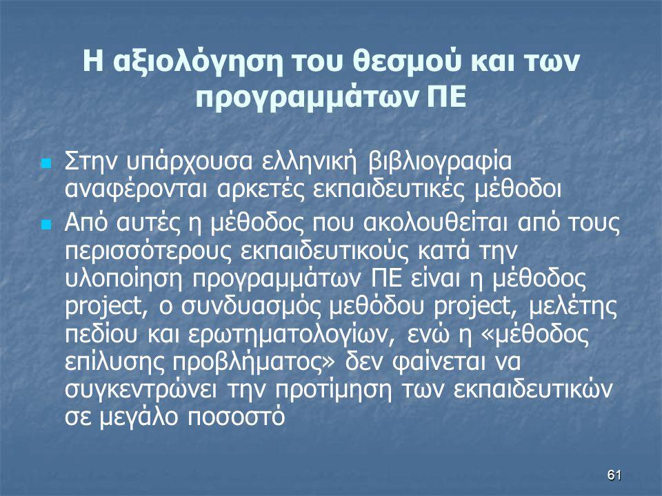 61 H αξιολόγηση του θεσμού και των προγραμμάτων ΠΕ Στην υπάρχουσα ελληνική βιβλιογραφία αναφέρονται αρκετές εκπαιδευτικές μέθοδοι Από αυτές η μέθοδος