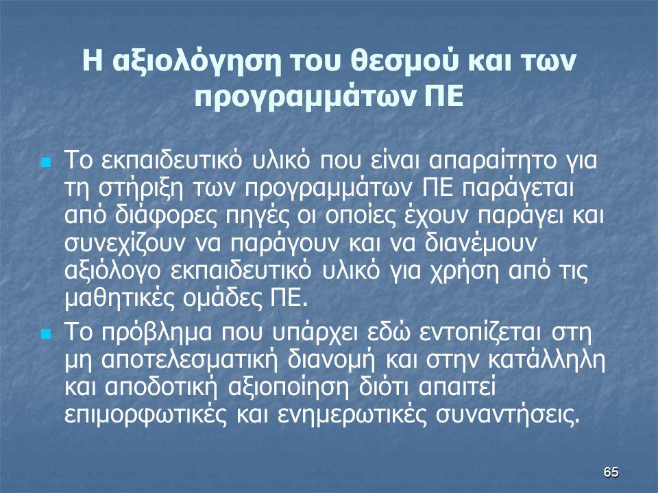 65 H αξιολόγηση του θεσμού και των προγραμμάτων ΠΕ Το εκπαιδευτικό υλικό που είναι απαραίτητο για τη στήριξη των προγραμμάτων ΠΕ παράγεται από διάφορε