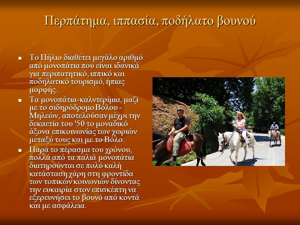 Περπάτημα, ιππασία, ποδήλατο βουνού Το Πήλιο διαθέτει μεγάλο αριθμό από μονοπάτια που είναι ιδανικά για περιπατητικό, ιππικό και ποδηλατικό τουρισμό,