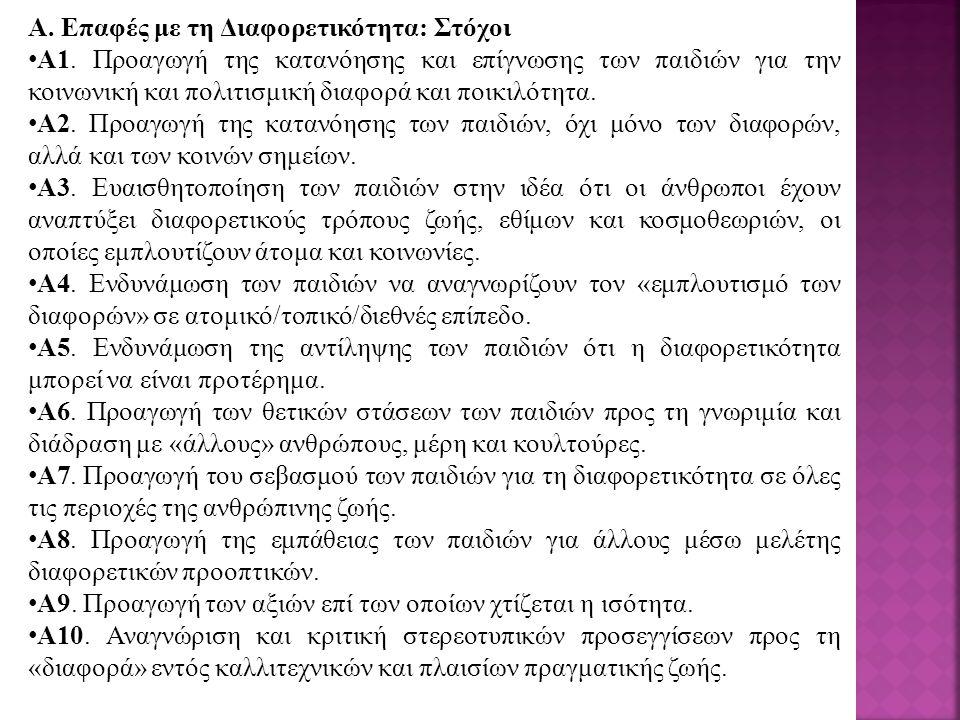 A. Επαφές με τη Διαφορετικότητα: Στόχοι A1.