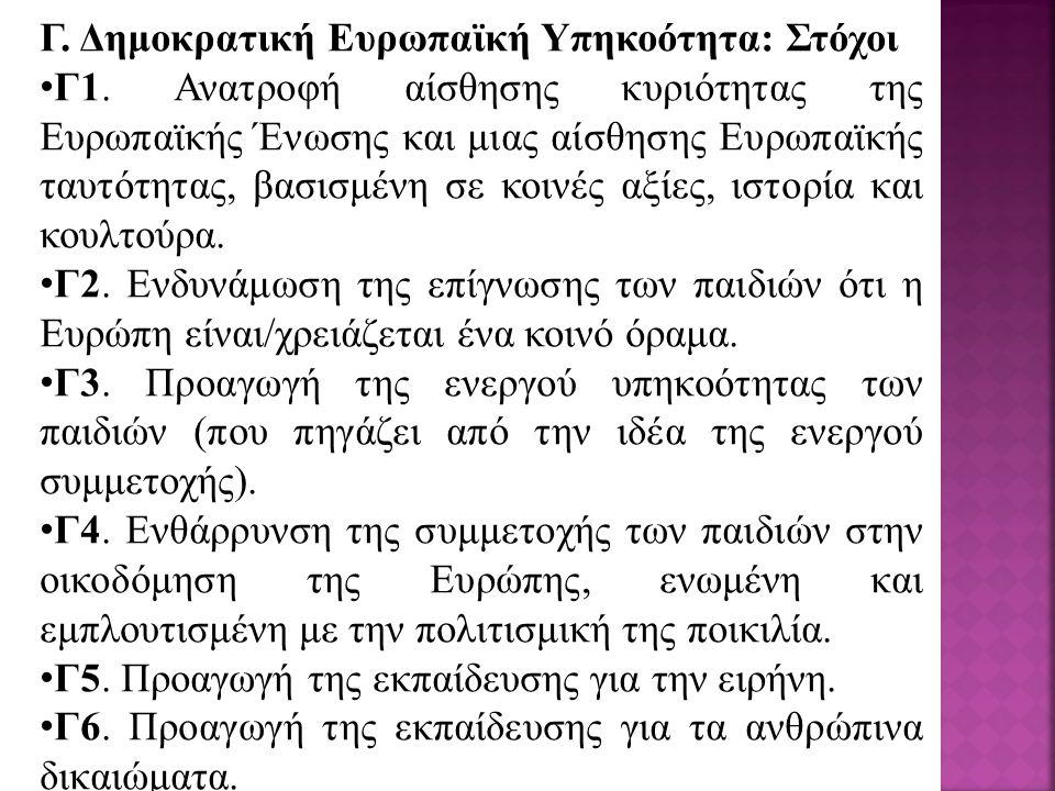 Γ. Δημοκρατική Ευρωπαϊκή Υπηκοότητα: Στόχοι Γ1.