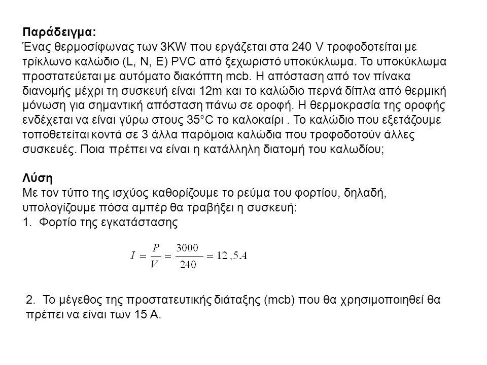 Παράδειγμα: Ένας θερμοσίφωνας των 3KW που εργάζεται στα 240 V τροφοδοτείται με τρίκλωνο καλώδιο (L, Ν, Ε) ΡVC από ξεχωριστό υποκύκλωμα. Το υποκύκλωμα