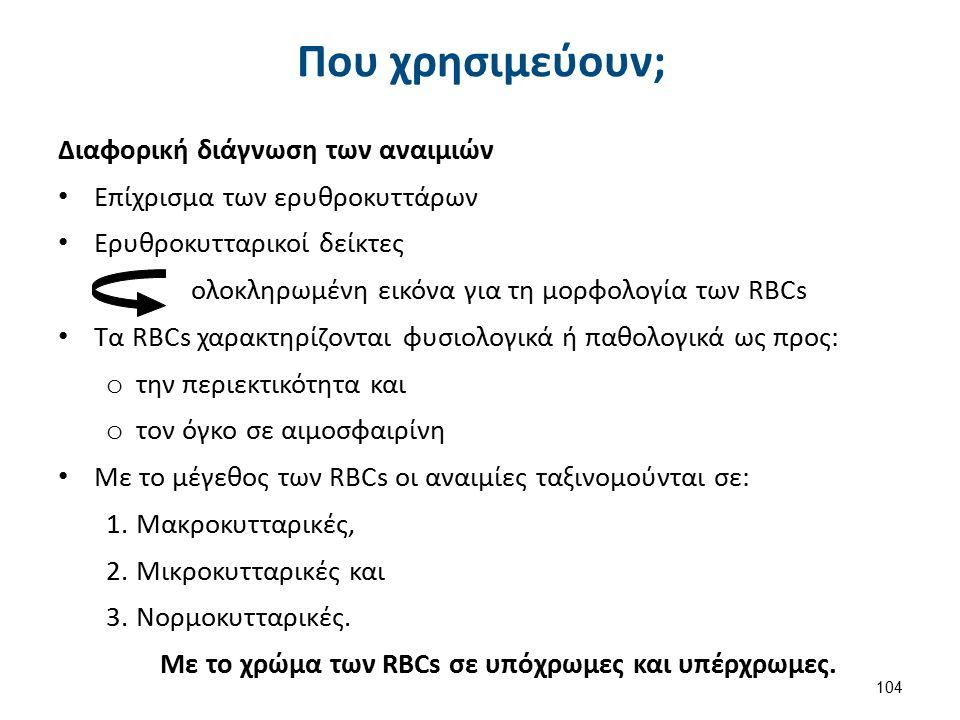 Που χρησιμεύουν; Διαφορική διάγνωση των αναιμιών Επίχρισμα των ερυθροκυττάρων Ερυθροκυτταρικοί δείκτες ολοκληρωμένη εικόνα για τη μορφολογία των RBCs