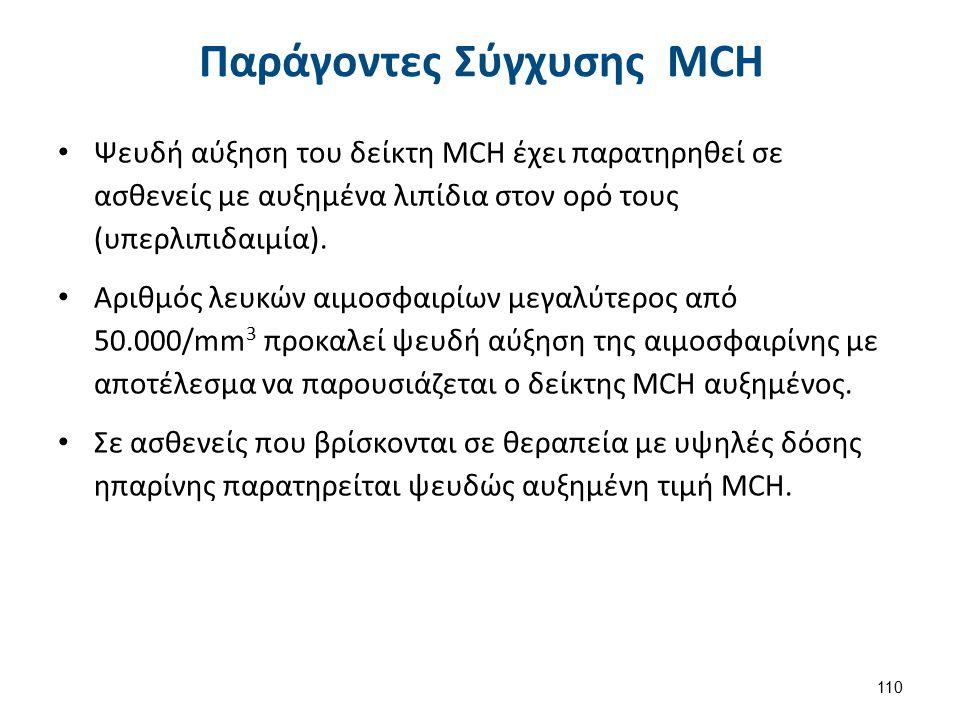 Παράγοντες Σύγχυσης MCH Ψευδή αύξηση του δείκτη MCH έχει παρατηρηθεί σε ασθενείς με αυξημένα λιπίδια στον ορό τους (υπερλιπιδαιμία). Αριθμός λευκών αι