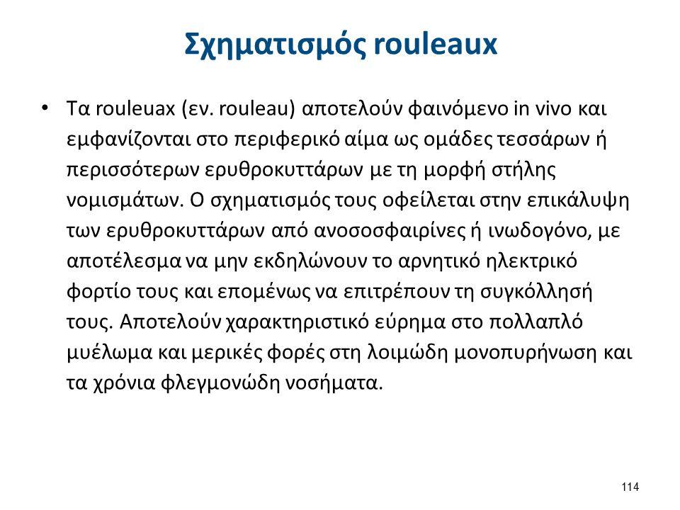 Σχηματισμός rouleaux Τα rouleuax (εν. rouleau) αποτελούν φαινόμενο in vivo και εμφανίζονται στο περιφερικό αίμα ως ομάδες τεσσάρων ή περισσότερων ερυθ
