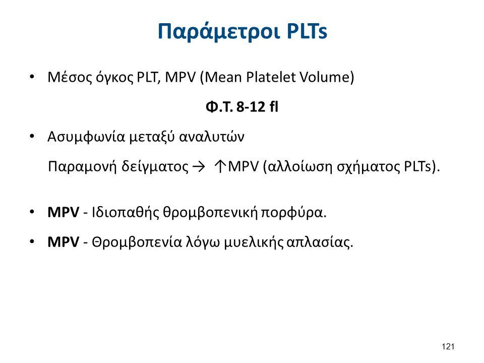 Παράμετροι PLTs Μέσος όγκος PLT, MPV (Mean Platelet Volume) Φ.Τ. 8-12 fl Ασυμφωνία μεταξύ αναλυτών Παραμονή δείγματος → ↑MPV (αλλοίωση σχήματος PLTs).