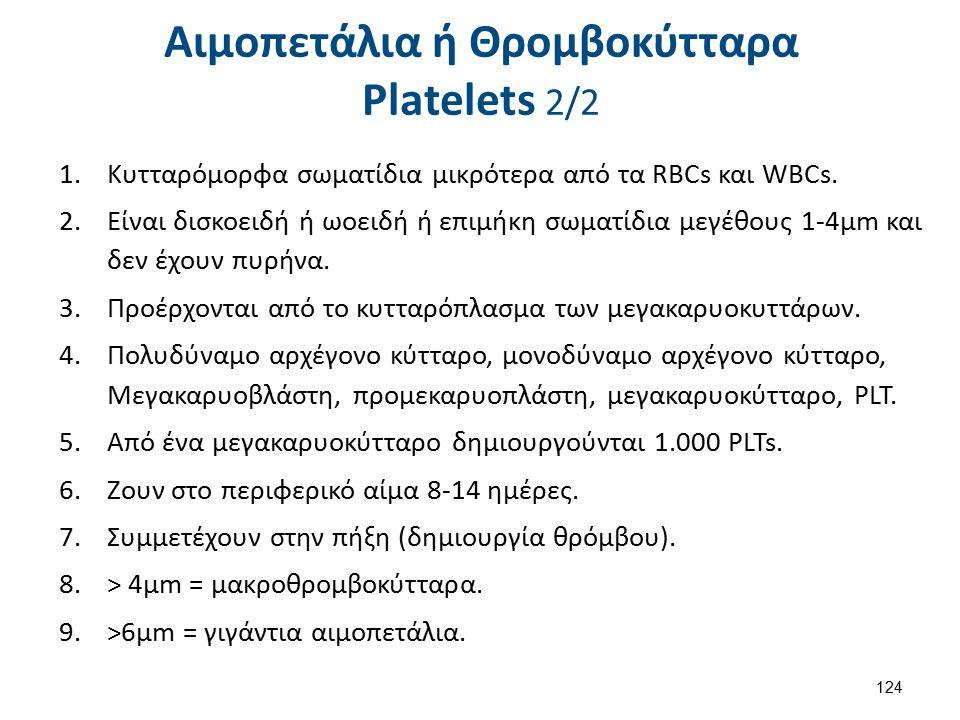 Αιμοπετάλια ή Θρομβοκύτταρα Platelets 2/2 1.Κυτταρόμορφα σωματίδια μικρότερα από τα RBCs και WBCs.