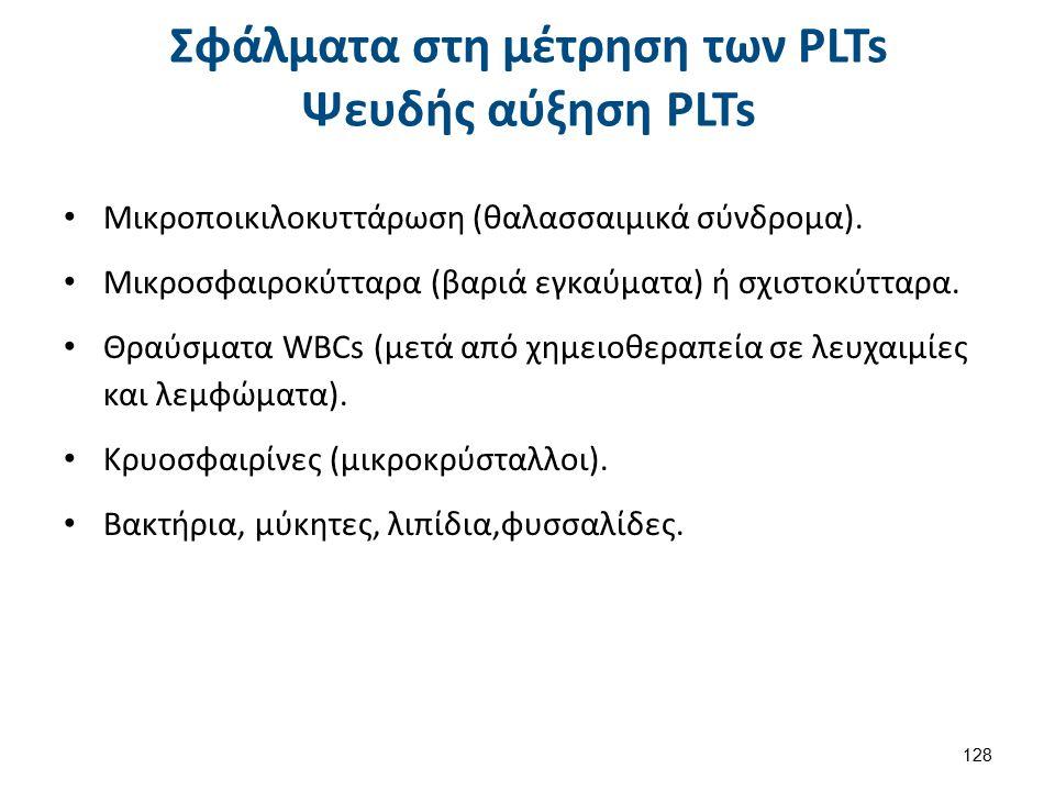 Σφάλματα στη μέτρηση των PLTs Ψευδής αύξηση PLTs Μικροποικιλοκυττάρωση (θαλασσαιμικά σύνδρομα).