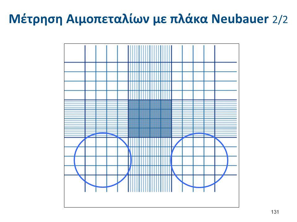 Μέτρηση Αιμοπεταλίων με πλάκα Neubauer 2/2 131