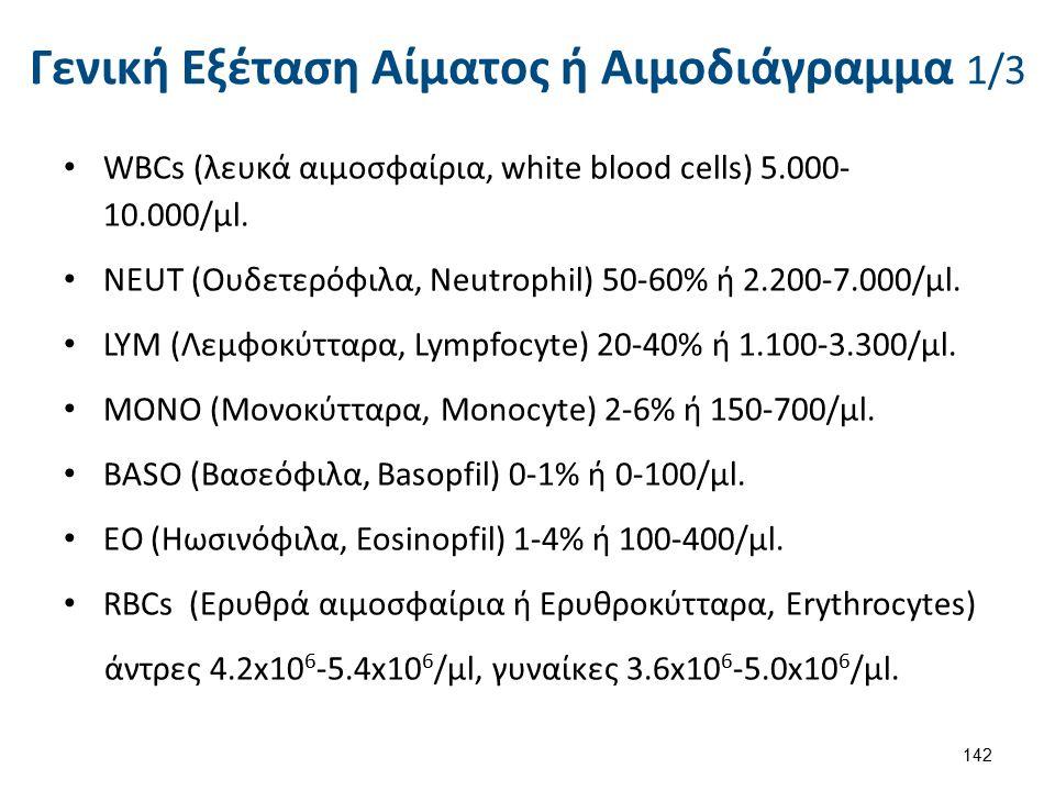Γενική Εξέταση Αίματος ή Αιμοδιάγραμμα 1/3 WBCs (λευκά αιμοσφαίρια, white blood cells) 5.000- 10.000/μl. NEUΤ (Ουδετερόφιλα, Neutrophil) 50-60% ή 2.20