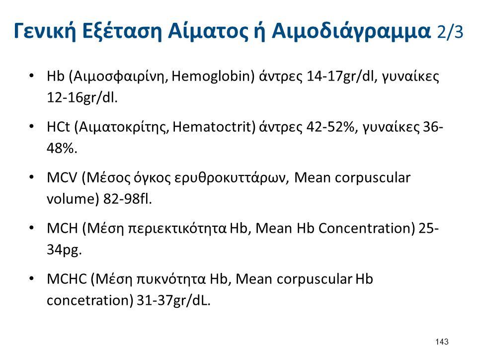 Γενική Εξέταση Αίματος ή Αιμοδιάγραμμα 2/3 Ηb (Αιμοσφαιρίνη, Hemoglobin) άντρες 14-17gr/dl, γυναίκες 12-16gr/dl. HCt (Αιματοκρίτης, Hematoctrit) άντρε