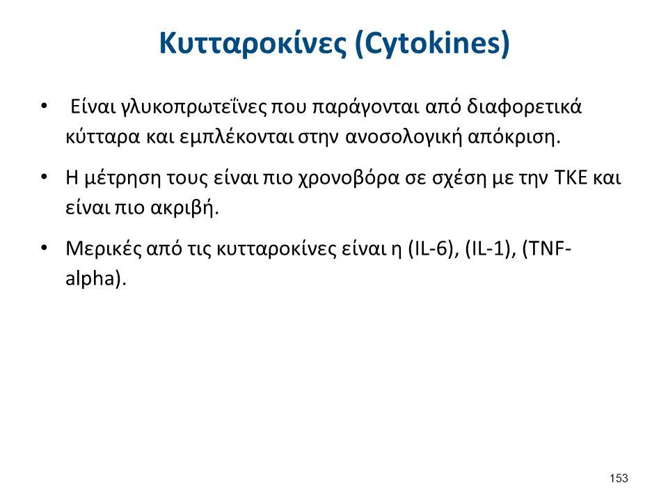 Κυτταροκίνες (Cytokines) Είναι γλυκοπρωτεΐνες που παράγονται από διαφορετικά κύτταρα και εμπλέκονται στην ανοσολογική απόκριση. Η μέτρηση τους είναι π